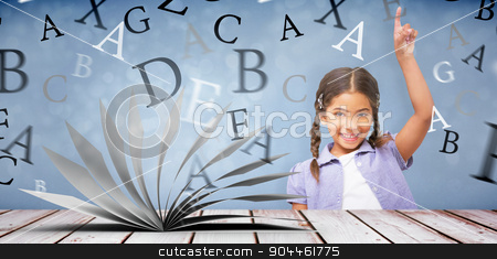 Composite image of happy pupil with arm raised stock photo, Happy pupil with arm raised against light design shimmering on silver by Wavebreak Media