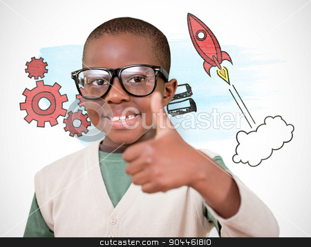 Composite image of cute pupil with thumbs up stock photo, Cute pupil with thumbs up against white background with vignette by Wavebreak Media