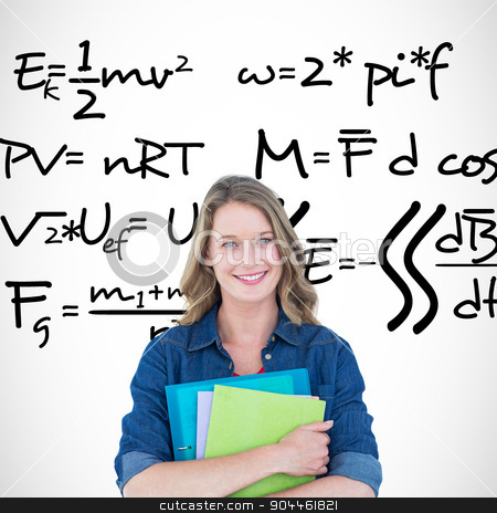 Composite image of smiling student holding notebook and file  stock photo, Smiling student holding notebook and file  against maths equation by Wavebreak Media
