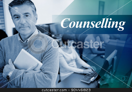 Counselling against teacher standing while holding a tablet pc stock photo, The word counselling against teacher standing while holding a tablet pc by Wavebreak Media