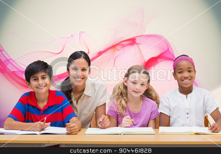 Composite image of pretty teacher helping pupils in library stock photo, Pretty teacher helping pupils in library against pink abstract design by Wavebreak Media