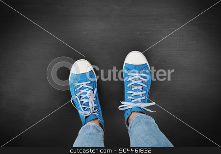 Composite image of casual shoes stock photo, Casual shoes against black background by Wavebreak Media