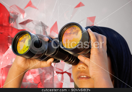 Composite image of cute little girl looking through binoculars  stock photo, Cute little girl looking through binoculars  against angular design by Wavebreak Media