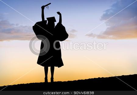 Composite image of silhouette of graduate stock photo, Silhouette of graduate against a sun set by Wavebreak Media