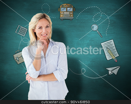 Composite image of mature student smiling stock photo, Mature student smiling against green chalkboard by Wavebreak Media