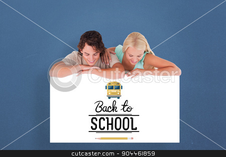 Composite image of cute smiling couple leaning on a whiteboard stock photo, Cute smiling couple leaning on a whiteboard against blue background by Wavebreak Media