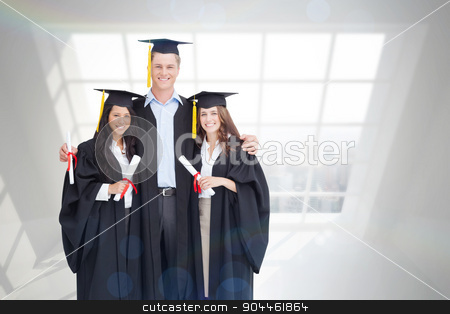 Composite image of full length of three friends graduate from co stock photo, Full length of three friends graduate from college together against room with large window showing city by Wavebreak Media