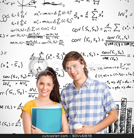 Composite image of smiling students stock photo, Smiling students against maths equations by Wavebreak Media