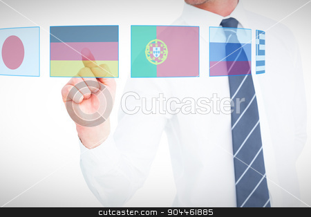 Composite image of businessman pointing with his finger stock photo, Businessman pointing with his finger against blue interface by Wavebreak Media