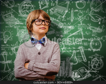 Composite image of cute pupil dressed up as teacher stock photo, Cute pupil dressed up as teacher against green chalkboard by Wavebreak Media