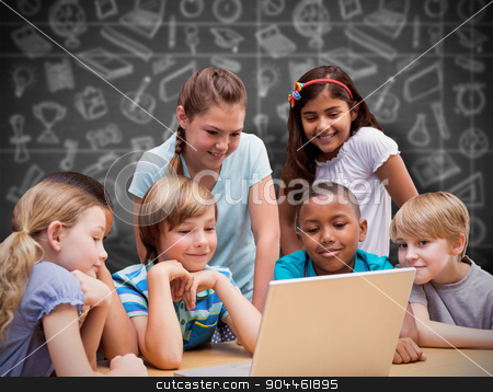 Composite image of cute pupils using tablet computer in library stock photo, Cute pupils using tablet computer in library against black background by Wavebreak Media