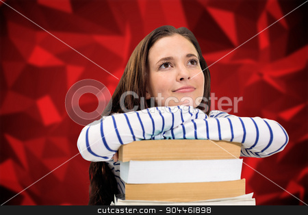 Composite image of students studying stock photo, Students studying against red abstract design by Wavebreak Media