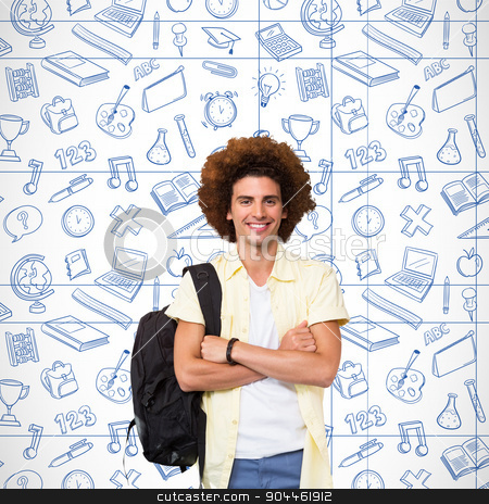 Composite image of young man with arms crossed in office corrido stock photo, Young man with arms crossed in office corridor against school doodles by Wavebreak Media