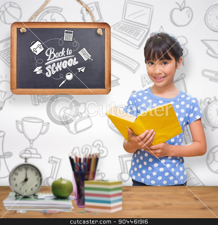 Composite image of happy pupil stock photo, happy pupil against bleached wooden planks background by Wavebreak Media