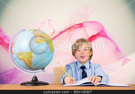 Composite image of cute pupil writing stock photo, Cute pupil writing against pink abstract design by Wavebreak Media