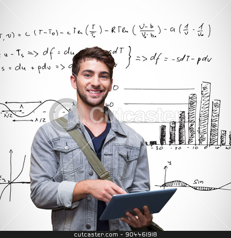 Composite image of student using tablet in library  stock photo, Student using tablet in library  against maths equations by Wavebreak Media