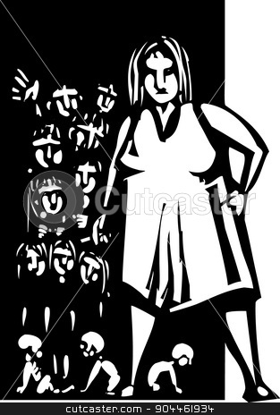 Woman and children stock vector clipart, Woodcut style Large woman with cigarette at the door to a home with lots of children by Jeffrey Thompson