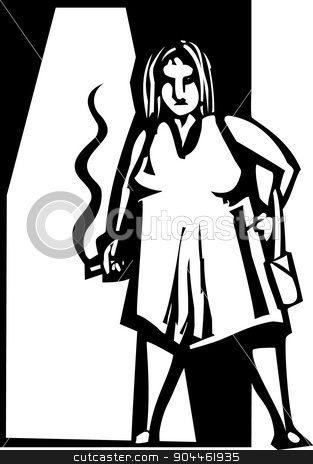 Old Street Walker stock vector clipart, Woodcut style image of an old tired street walker. by Jeffrey Thompson
