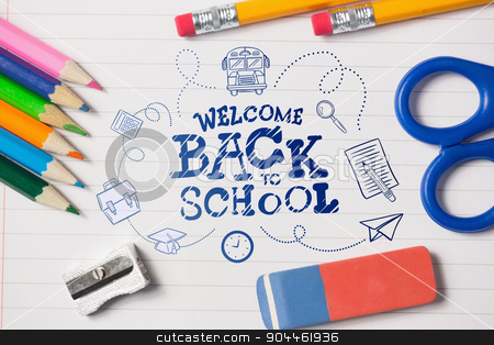 Composite image of back to school stock photo, back to school against notepad and school work supplies by Wavebreak Media