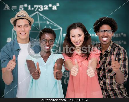 Composite image of stylish friends smiling at camera together stock photo, Stylish friends smiling at camera together against green chalkboard by Wavebreak Media