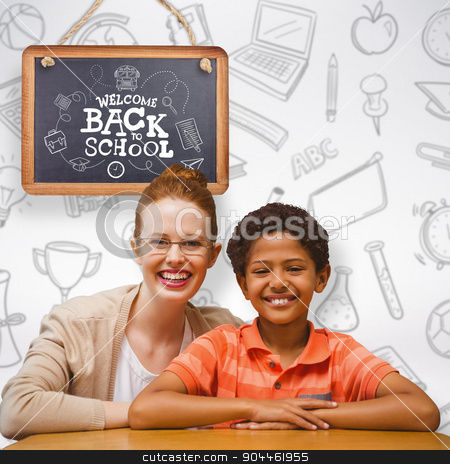 Composite image of happy pupil and teacher stock photo, Happy pupil and teacher against grey background by Wavebreak Media