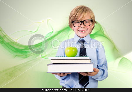 Composite image of cute pupil holding books and apple stock photo, Cute pupil holding books and apple against green abstract design by Wavebreak Media