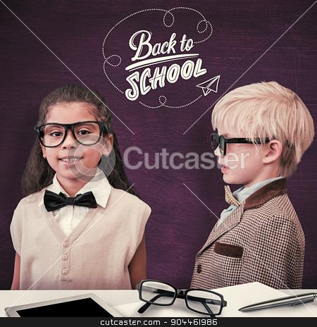 Composite image of cute pupils dressed up as teachers stock photo, Cute pupils dressed up as teachers against green chalkboard by Wavebreak Media