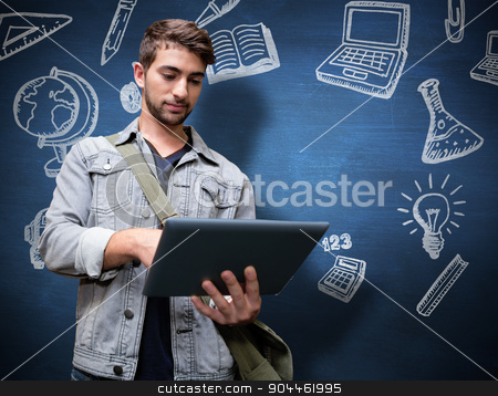 Composite image of student using tablet in library  stock photo, Student using tablet in library  against blue chalkboard by Wavebreak Media