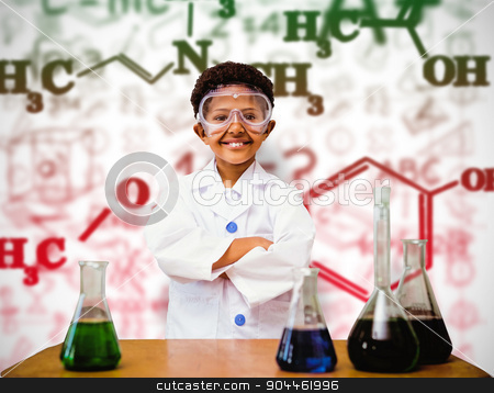 Composite image of cute pupil dressed up as scientist stock photo, Cute pupil dressed up as scientist against white background with vignette by Wavebreak Media