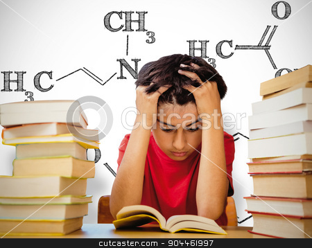 Composite image of tensed boy sitting with stack of books stock photo, Tensed boy sitting with stack of books against white background with vignette by Wavebreak Media
