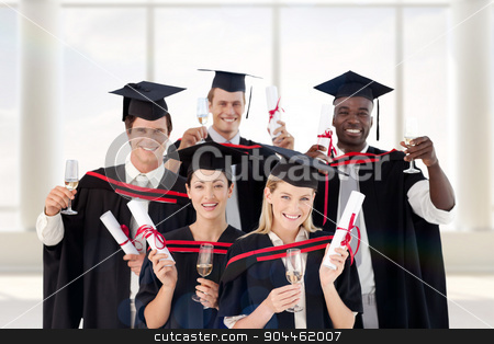 Composite image of group of people graduating from college stock photo, Group of people Graduating from College against room with large window by Wavebreak Media