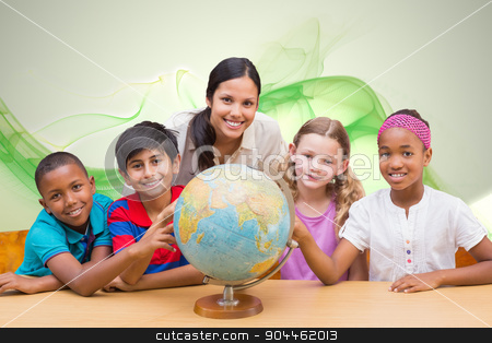 Composite image of cute pupils and teacher looking at globe in l stock photo, Cute pupils and teacher looking at globe in library  against green abstract design by Wavebreak Media