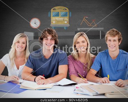 Composite image of four students looking at the camera stock photo, Four students looking at the camera against black background by Wavebreak Media