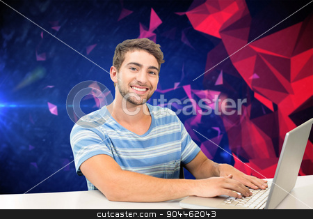 Composite image of student on laptop stock photo, Student on laptop against dark abstract design by Wavebreak Media