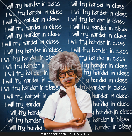 Composite image of pupil dressed up in wig stock photo, Pupil dressed up in wig against blue chalkboard by Wavebreak Media