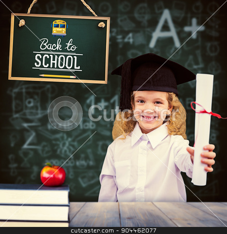 Composite image of smiling schoolgirl with graduation cap and ho stock photo, Smiling schoolgirl with graduation cap and holding her diploma against pale grey wooden planks by Wavebreak Media