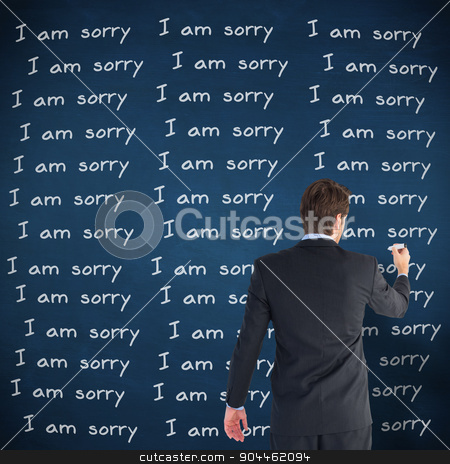 Composite image of businessman standing back to camera writing w stock photo, Businessman standing back to camera writing with marker against blue chalkboard by Wavebreak Media