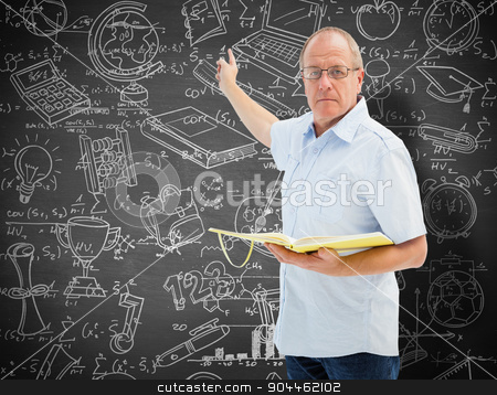 Composite image of teacher holding book and pointing stock photo, Teacher holding book and pointing against black background by Wavebreak Media