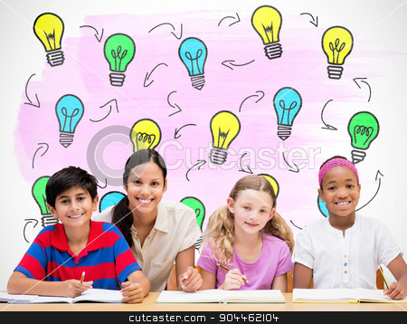 Composite image of pretty teacher helping pupils in library stock photo, Pretty teacher helping pupils in library against white background with vignette by Wavebreak Media