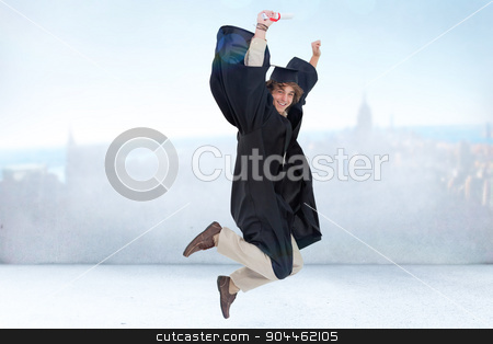 Composite image of happy male student in graduate robe jumping stock photo, Happy male student in graduate robe jumping against city scene in a room by Wavebreak Media