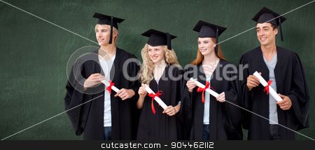 Composite image of group of people celebrating after graduation stock photo, Group of people celebrating after Graduation against green chalkboard by Wavebreak Media