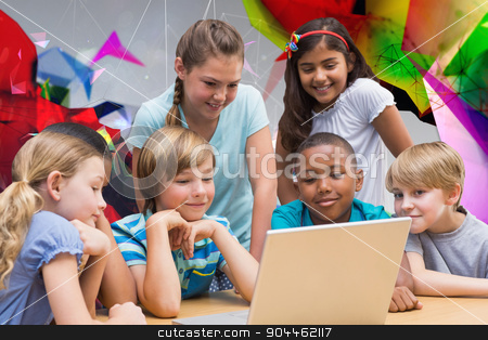 Composite image of cute pupils using tablet computer in library stock photo, Cute pupils using tablet computer in library against angular design by Wavebreak Media
