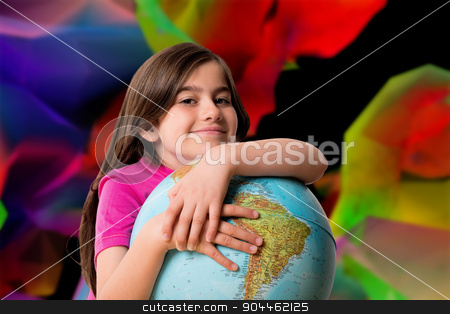 Composite image of cute pupil smiling holding globe stock photo, Cute pupil smiling holding globe against colourful abstract design by Wavebreak Media