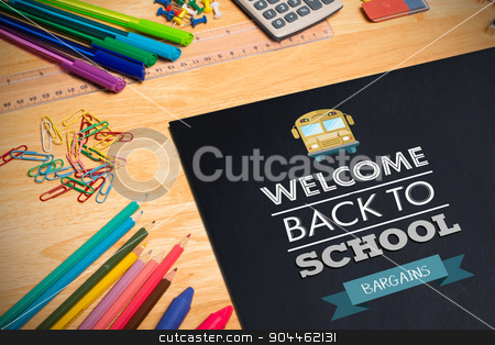 Composite image of back to school stock photo, back to school against students desk by Wavebreak Media