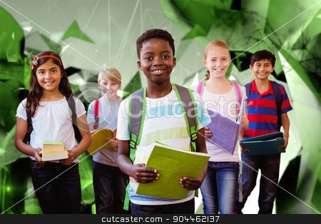 Composite image of smiling little school kids in school corridor stock photo, Smiling little school kids in school corridor against angular design by Wavebreak Media