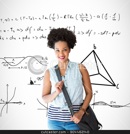 Composite image of portrait of casual young woman stock photo, Portrait of casual young woman against maths equations by Wavebreak Media