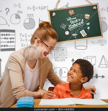 Composite image of teacher helping pupil stock photo, Teacher helping pupil against grey background by Wavebreak Media
