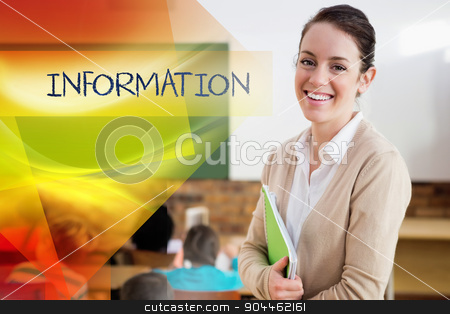 Information against pretty teacher smiling at camera at back of  stock photo, The word information against pretty teacher smiling at camera at back of classroom by Wavebreak Media