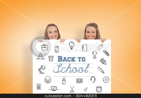 Composite image of close up of young women behind a blank sign stock photo, Close up of young women behind a blank sign against orange vignette by Wavebreak Media