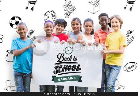 Composite image of  happy friends in the park  stock photo,  Happy friends in the park  against back to school Happy friends in the park on a sunny day by Wavebreak Media